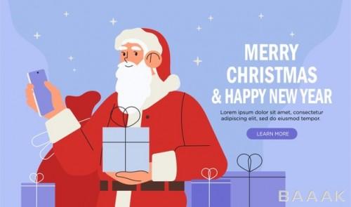 صفحه فرود با تصویر بابانوئلی که موبایل هوشمند دارد