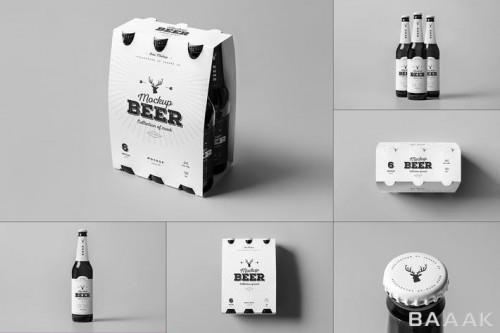 موکاپ بطری و بسته بندی آبجو