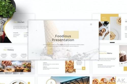 قالب ارائه مینیمال پاورپوینت با موضوع غذا و آشپزی