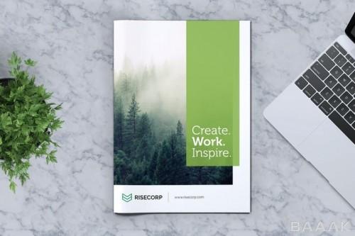 قالب بروشور خلاقانه با دیزاین سبز رنگ