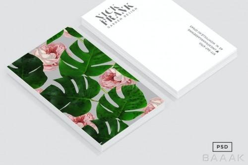 قالب کارت ویزیت جذاب با پترن گل رز