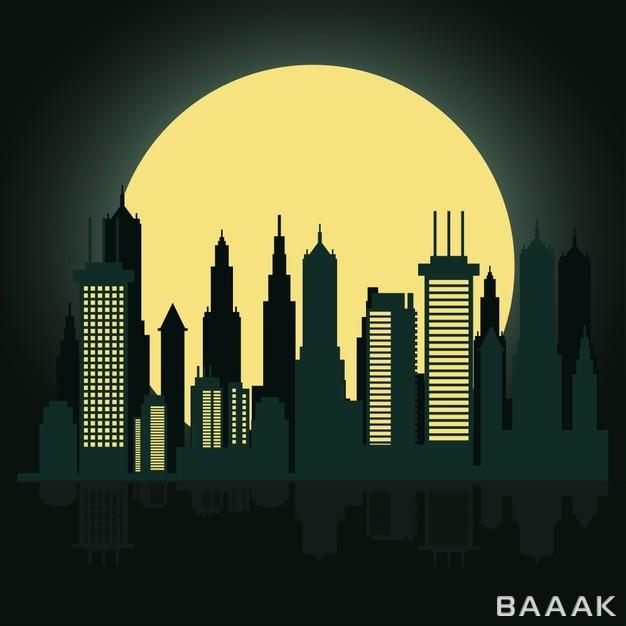 پس-زمینه-چشم-انداز-شهری-به-همراه-ماه_763008839