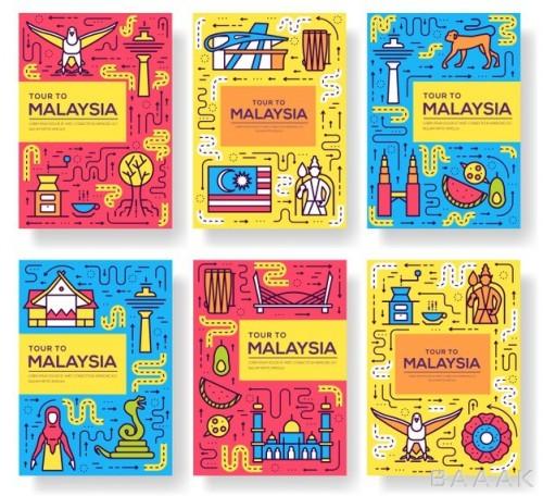 بنر های جذاب و رنگارنگ کارتونی برای معرفی کشور مالزی