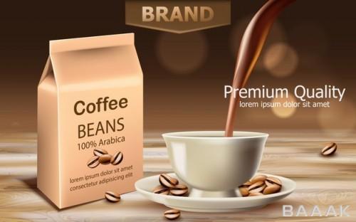 تصویر بسته بندی قهوه عربیکا به همراه فنجان و دانه های قهوه