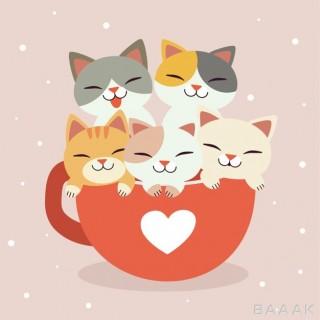 تصویر گربه های بامزه کارتونی در فنجان قهوه