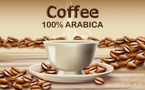 تصویر فنجان قهوه داغ عربیکا روی میز به همراه دانه های قهوه