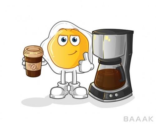 تصویر کارتونی نیمرو در حال درست کردن قهوه