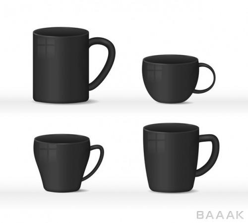 تصویر فنجان و ماگ قهوه سیاه رنگ