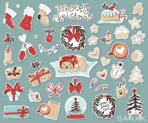 ست استیکر و برچسب های آیتم های کریسمسی