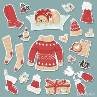 ست استیکر های لباس و پوشاک زمستانی با تم کریسمس