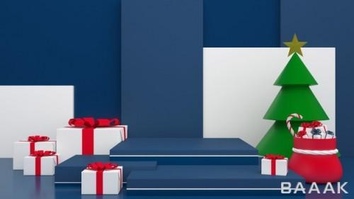 موکاپ 3D با بکگراند آبی تبریک سال نو میلادی و کریسمس
