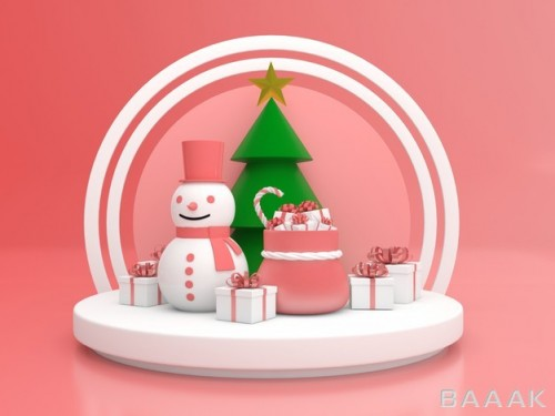موکاپ 3D تبریک کریسمس با رنگ پاستل
