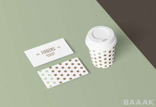 موکاپ کارت ویزیت و لیوان قهوه