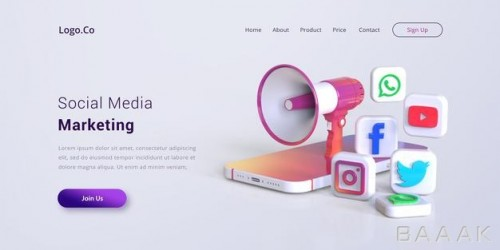 موکاپ صفحه فرود بازاریابی شبکه های اجتماعی
