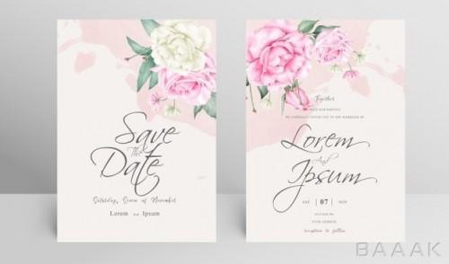 کارت دعوت عروسی با طرح گل
