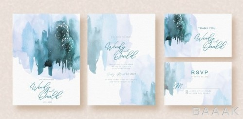 دعوتنامه عروسی با دیزاین انتزاعی طرح پاشیدن آبرنگ