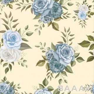 پترن طرح گل های زیبای آبی و سفید