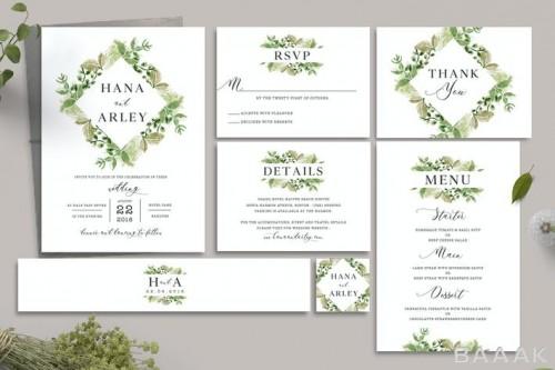 دعوتنامه های مراسم عروسی با دیزاین برگ های سبز