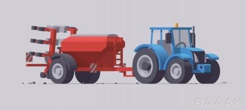 موکاپ ماشین کشاورزی به همراه تجهیزات مرتبط