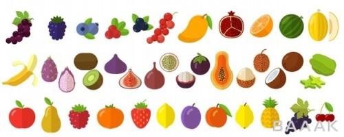 مجموعه آیکون با طرح میوه تازه