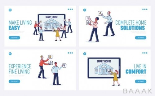 صفحه فرود با مفهوم خانه هوشمند