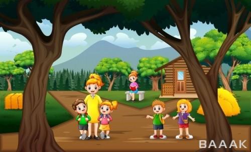 تصویر طرح دانش آموزان و معلم در روستا