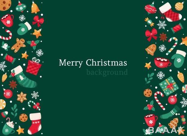 پس زمینه کریسمسی با تم سبز