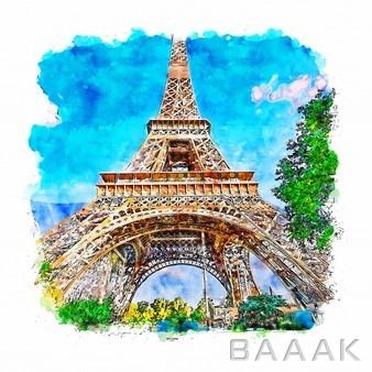 تصویر-نقاشی-با-دست-برج-ایفل_147736192